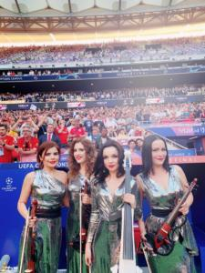 Asturia before the performance Anthem Champions League